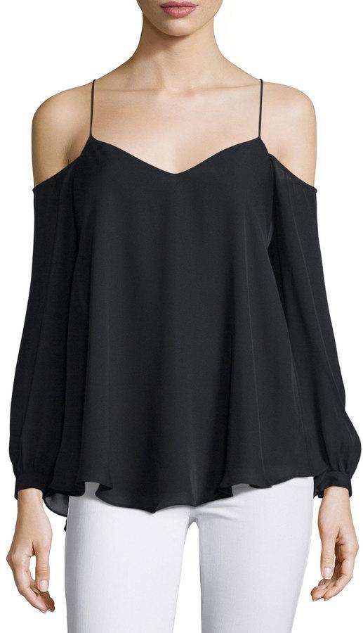 bd84fbbd45 ... Haute Hippie Silk Long Sleeve Cold Shoulder Top Black ...