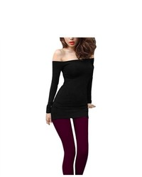 Unique-Bargains Pullover Sexy Off Shoulder Stretchy Long Shirt Black Xs For