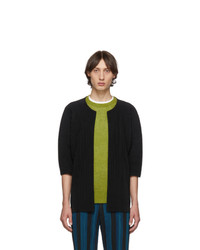 Homme Plissé Issey Miyake Black Pleated Open Front Cardigan