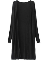 Choies Black Long Sleeve Cardigan With Beaded Wing