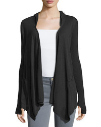 Minnie Rose Cotton Hooded Open Front Duster Cardigan Black