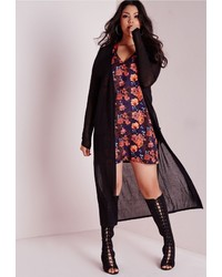 Missguided Plus Size Maxi Cardigan Black