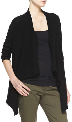Vince Ribbed Cashmere Draped Open Cardigan Black | Where to buy ...
