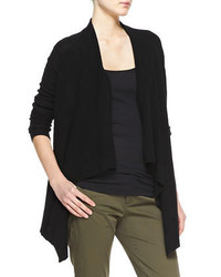 Vince Ribbed Cashmere Draped Open Cardigan Black