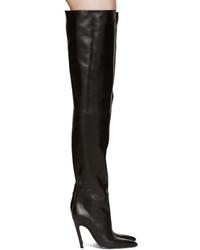 Balenciaga Black Slash Heel Over The Knee Boots