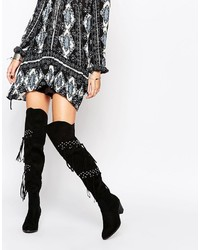 Glamorous Black Studded Fringed Over The Knee Boots
