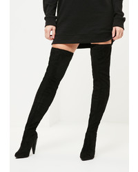 Missguided Black Tortoise Shell Cone Heel Over The Knee Boots