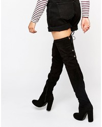 Boohoo Heeled Tie Back Over The Knee Boots