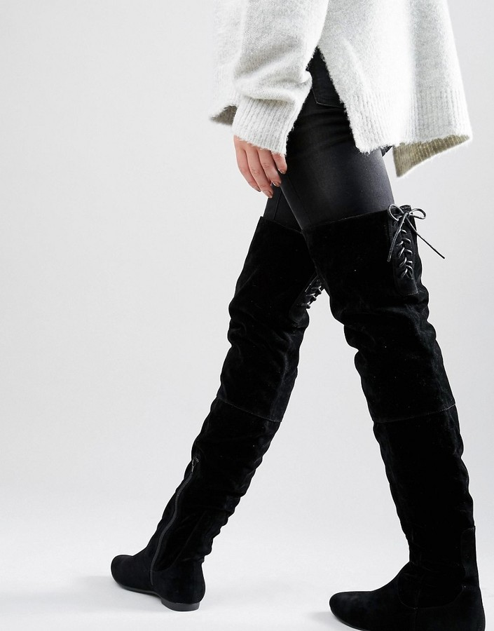 lace back over the knee boots