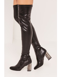 Missguided Black Bone Heel Over The Knee Boots