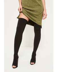 Missguided Black Neoprene Thigh High Peep Toe Booties