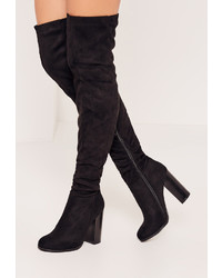 Missguided Black Rouched Over The Knee Boots