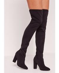 Missguided Neoprene Over The Knee Sock Boots Black