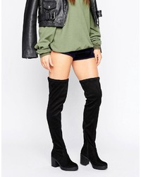 Boohoo Over The Knee Chunky Heeled Boots