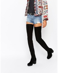 Glamorous Thigh High Black Chunky Heeled Over The Knee Boots