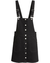H&M Bib Overall Dress Black Ladies
