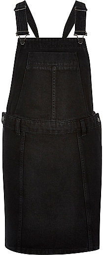 River Island Black Denim Overall Dress