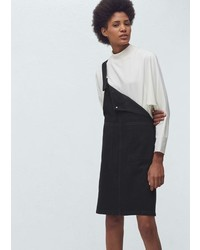 Mango Outlet Black Denim Pinafore Dress