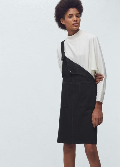 Mango Outlet Black Denim Pinafore Dress Where To Buy How To Wear