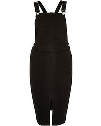 River Island Black Minimal Overall Pinafore Dress