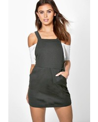 Boohoo Petite Ella Textured Pinafore Dress