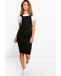 Boohoo Petite Sinead Button Front Midi Pinafore Dress