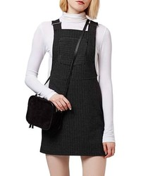 Topshop Pinstripe Pinafore Dress