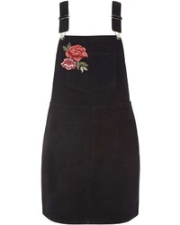 Rose Embroidered Dungaree Pinafore Dress