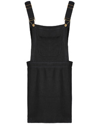 Strap Pockets Pinafore Grey Dress