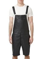 Topman Aaa Collection Faux Leather Short Overalls