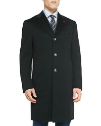 Kiton Aquaspider Single Breasted Overcoat Black
