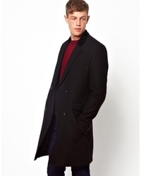 Asos Double Breasted Wool Overcoat In Black With Velvet Collar Black