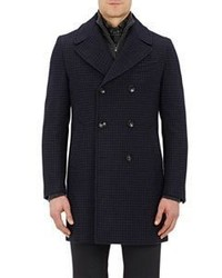 Barneys New York Checked Melton Double Breasted Coat Navy Size Na