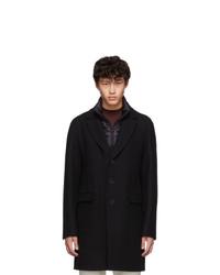 Herno Black Diagonal Wool Coat