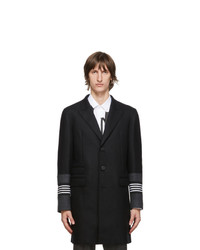 Neil Barrett Black Raw Edge Stripe Coat