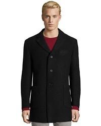 Z Zegna Black Wool Blend 3 Button Front Overcoat