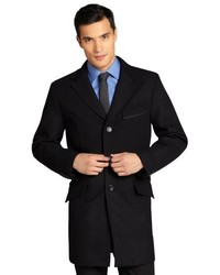 Joseph Abboud Black Wool Blend Notched Lapel Single Breasted Empire Topcoat