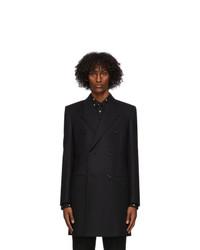 Saint Laurent Black Wool Double Breasted Coat