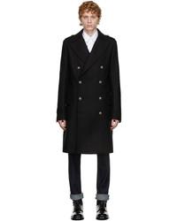 Balmain Black Wool Double Breasted Coat