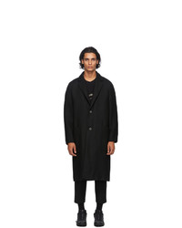 Song For The Mute Black Wool Raglan Coat