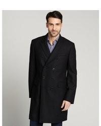 Burberry Black Wool Three Quarter Overcoat