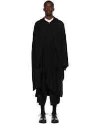 Yohji Yamamoto Black Wool Wrap Cape Coat