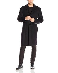 Calvin Klein Plaza Solid Single Breasted Wool Blended Overcoat