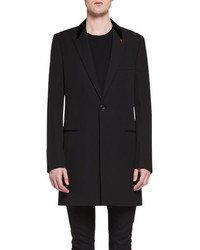 Saint Laurent Chesterfield Wool Velvet Collar Single Breasted Coat Black