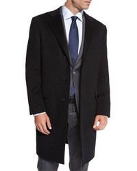 Neiman Marcus Classic Cashmere Single Breasted Topcoat Black