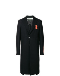 Off-White Contrast Patch Single Breasted Coat