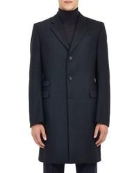 Jil Sander Melange Wool Cashmere Twill Overcoat Blue