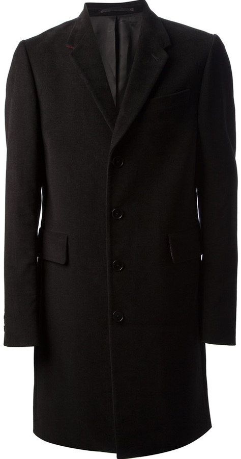 burbank black single men Mens coat overcoat topcoat double breasted front closure dual flap front pockets, 3 inside pockets, peak lapels, fully lined, 4 buttons on sleeve, single back vent.
