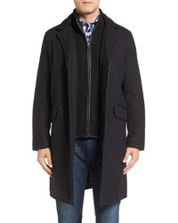 Wool blend overcoat with knit bib inset medium 841653