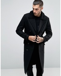 Asos Wool Mix Belted Double Breasted Overcoat With Fleece Collar